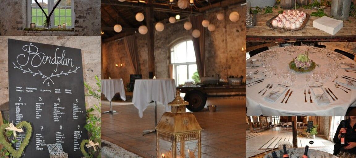 Collage med billeder fra rustikt bryllup i 1877-Laden på Sonnerupgaard Gods