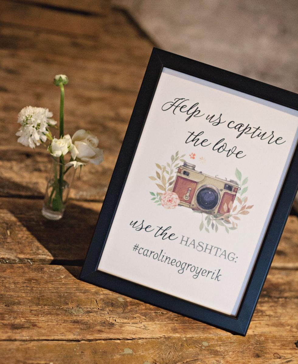 Brug hashtag til brylluppet