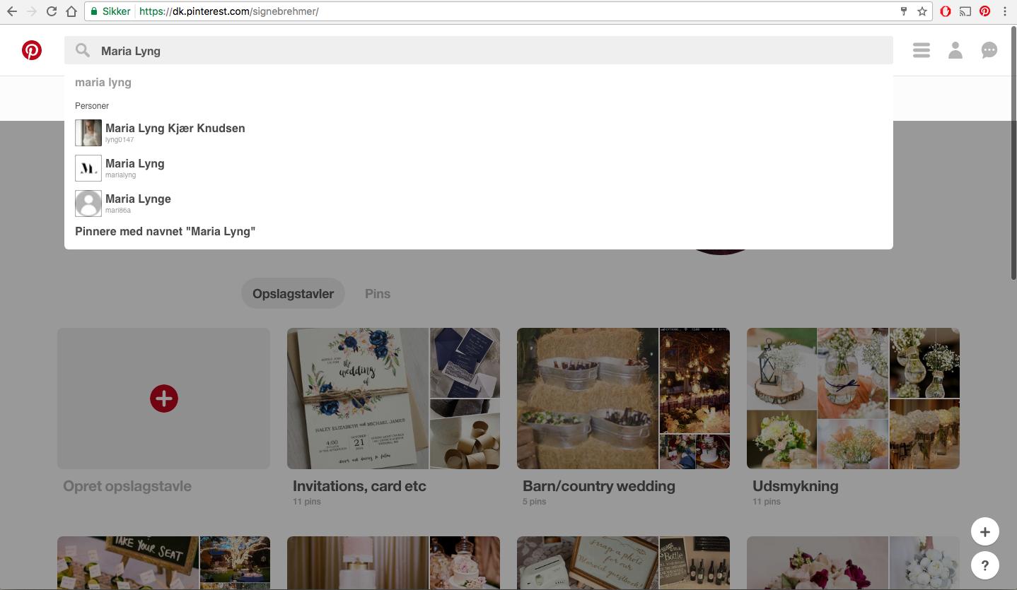Pinterest søgefelt