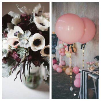 Blomster og ballonpynt til barnedåb