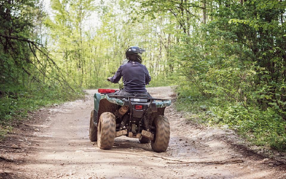 ATV-kører midt på skov