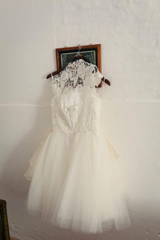 Kort brudekjole til dans