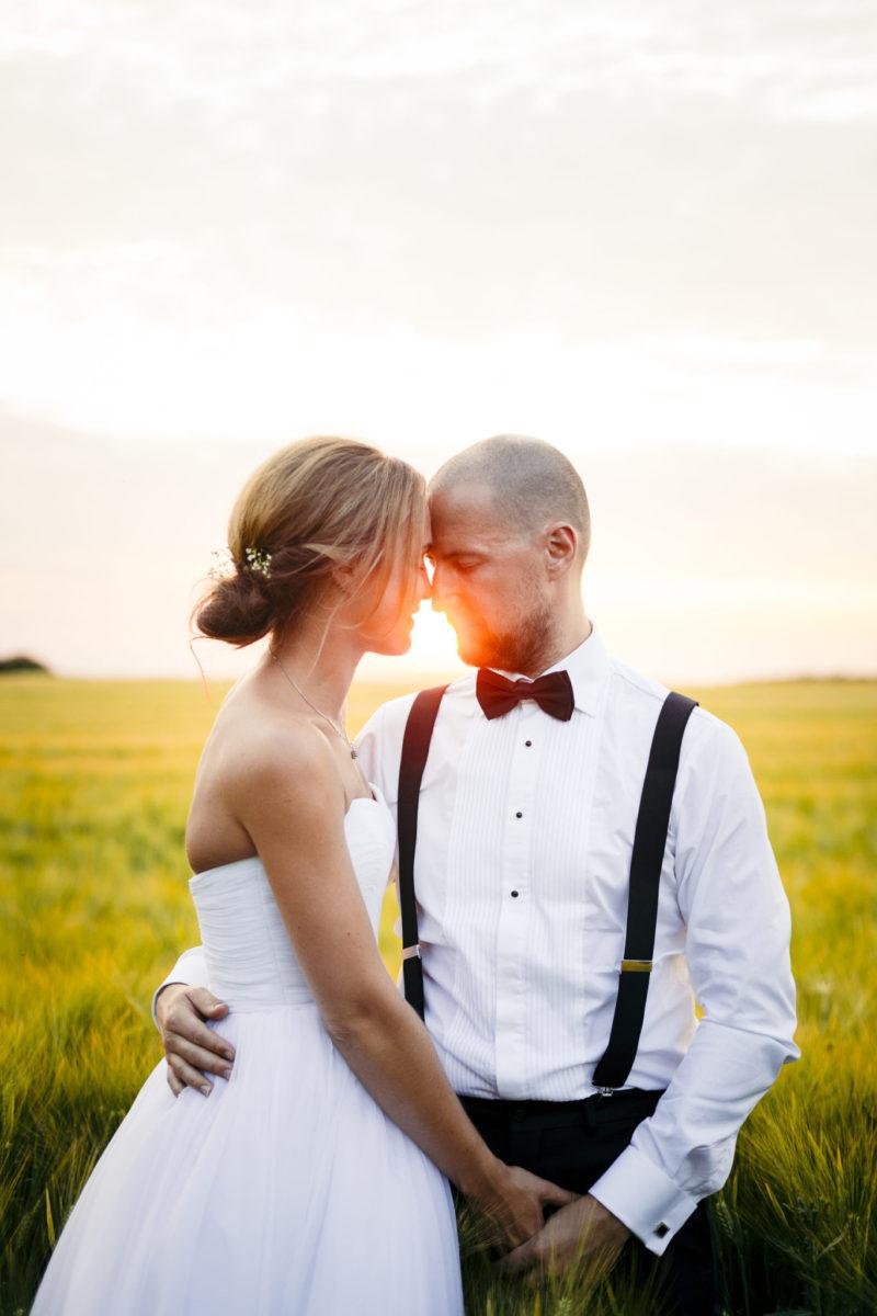 Bryllupsfotografering i solnedgang