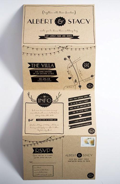 Fold ud bryllupsinvitation i flot papir