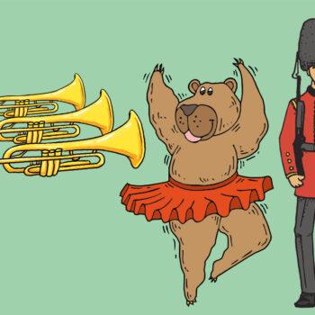 Tegning af trompeter, dansende bjørn og livgarden
