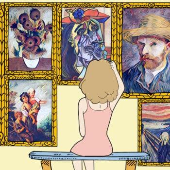 Malerier på museumsvæg uden mellemrum