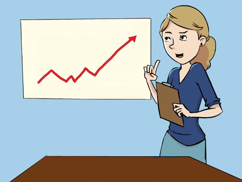 Chefen præsenterer en stigende graf