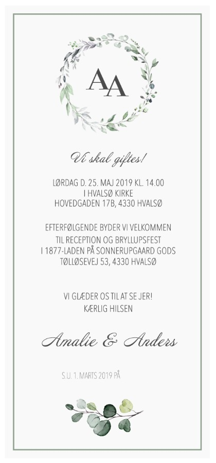 Invitation til bryllupsfest