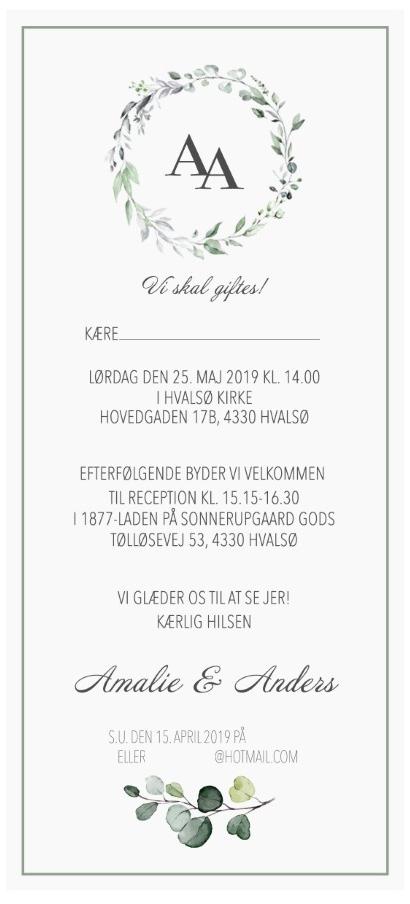 Invitation til bryllup kun til receptionen