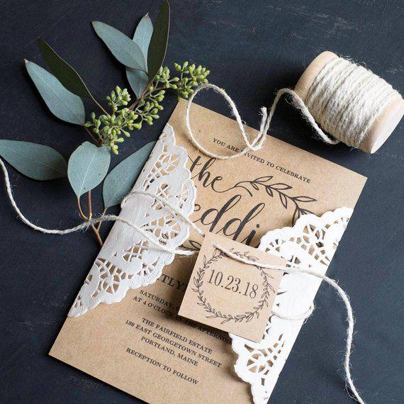 Rustik bryllupsinvitation