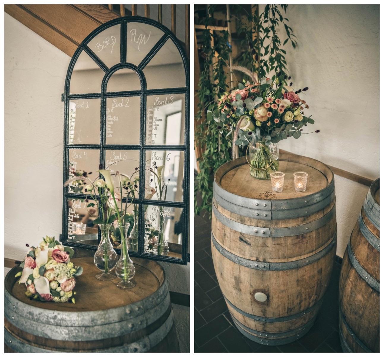 Bordplan på spejl og tønder til bryllup