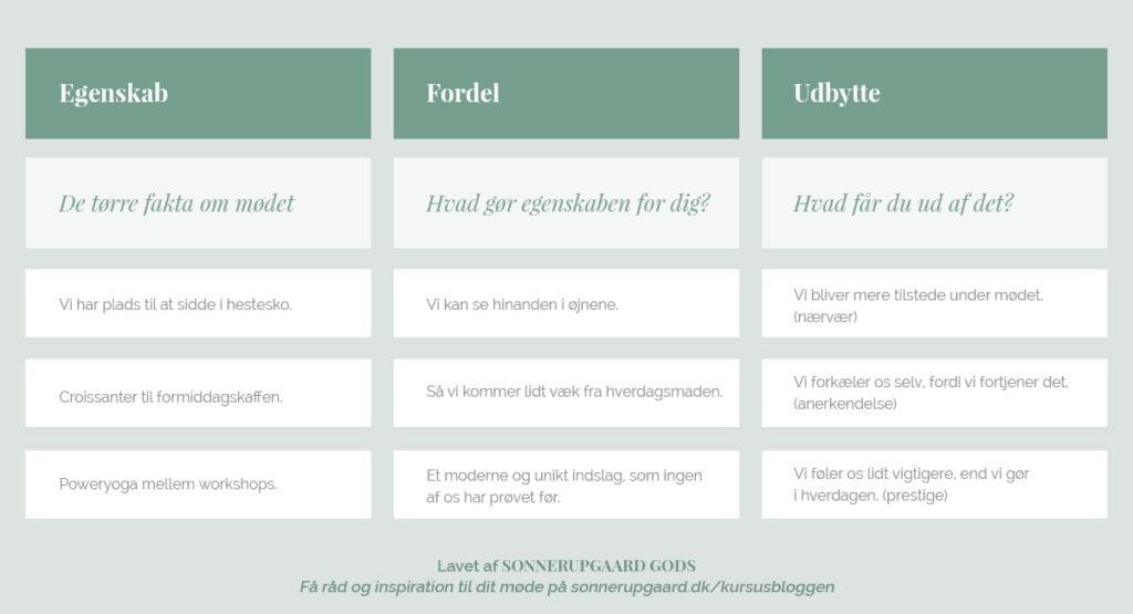 Skema over EFU-modellen til møder