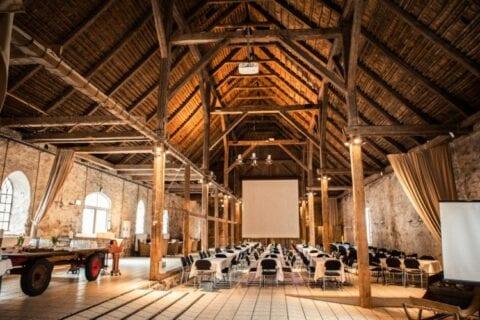 1877-laden klargjort til konference med projektor ned og stort flot loft