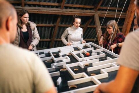 Koncentration blandt deltagerne til teambuilding