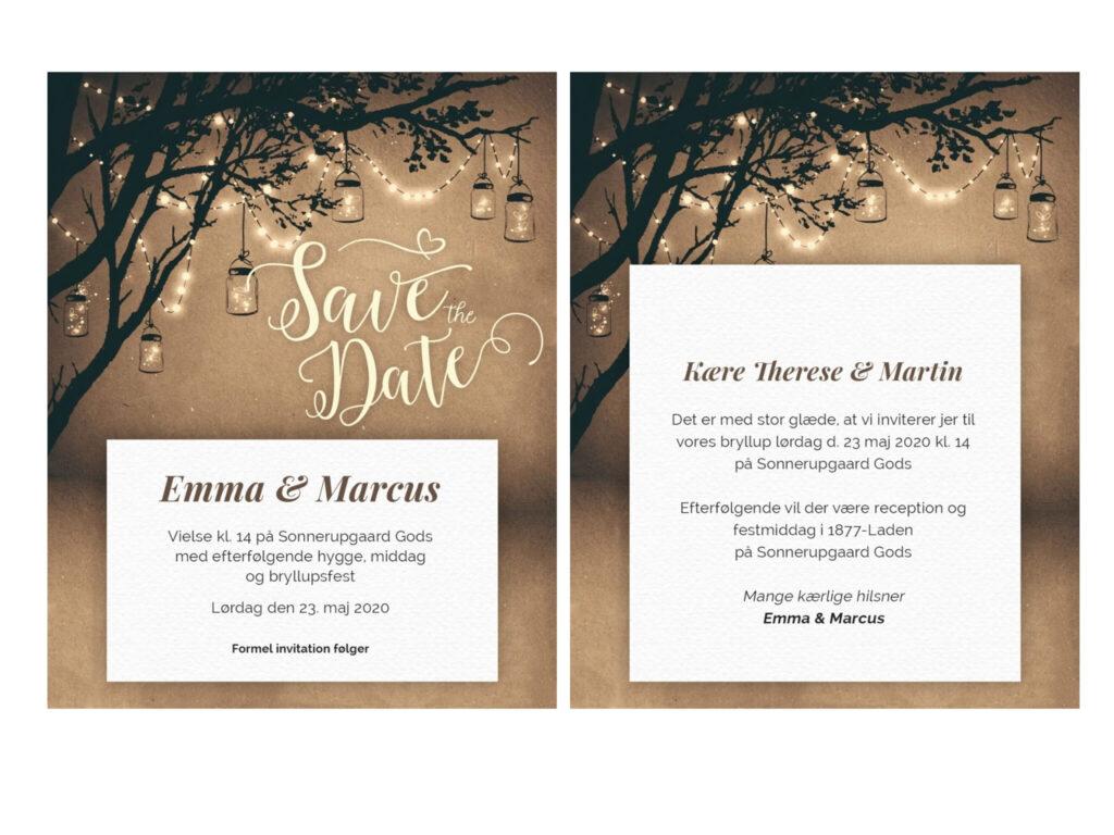 Save the date-kort med mørkebrunt papir og lanterner