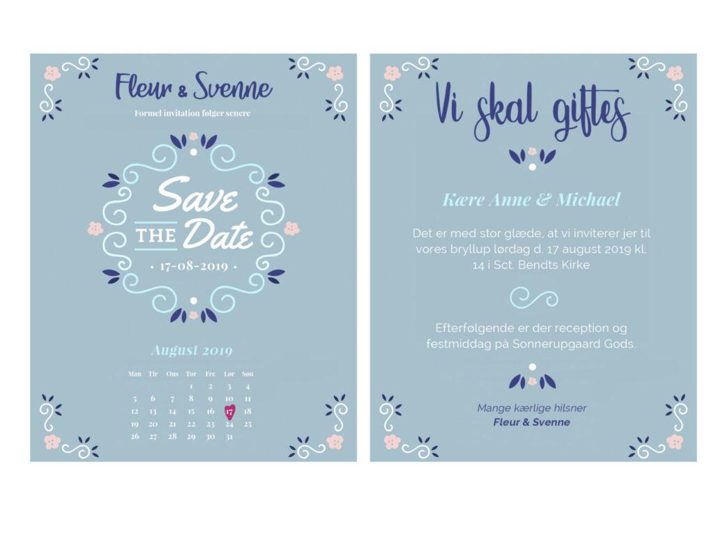 Save the date-kort med blå baggrund og roser