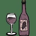 Illustration af vinglas og vinflaske