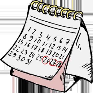 Illustration af kalender med cirkler om datoer