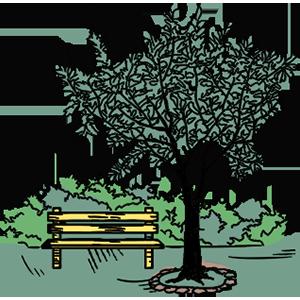 En illustration af park og bænk