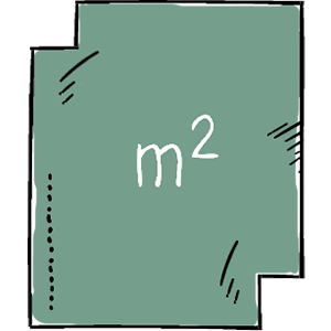 Håndtegnet illustration af kvadratkilometer