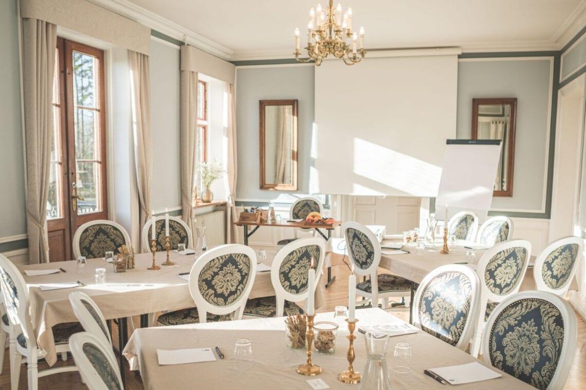 Møde og kursus opstilling med borde og stole i Hovedbygningen
