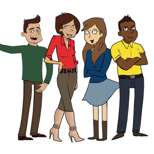 Fire kolleger med tøj i forskellige farver