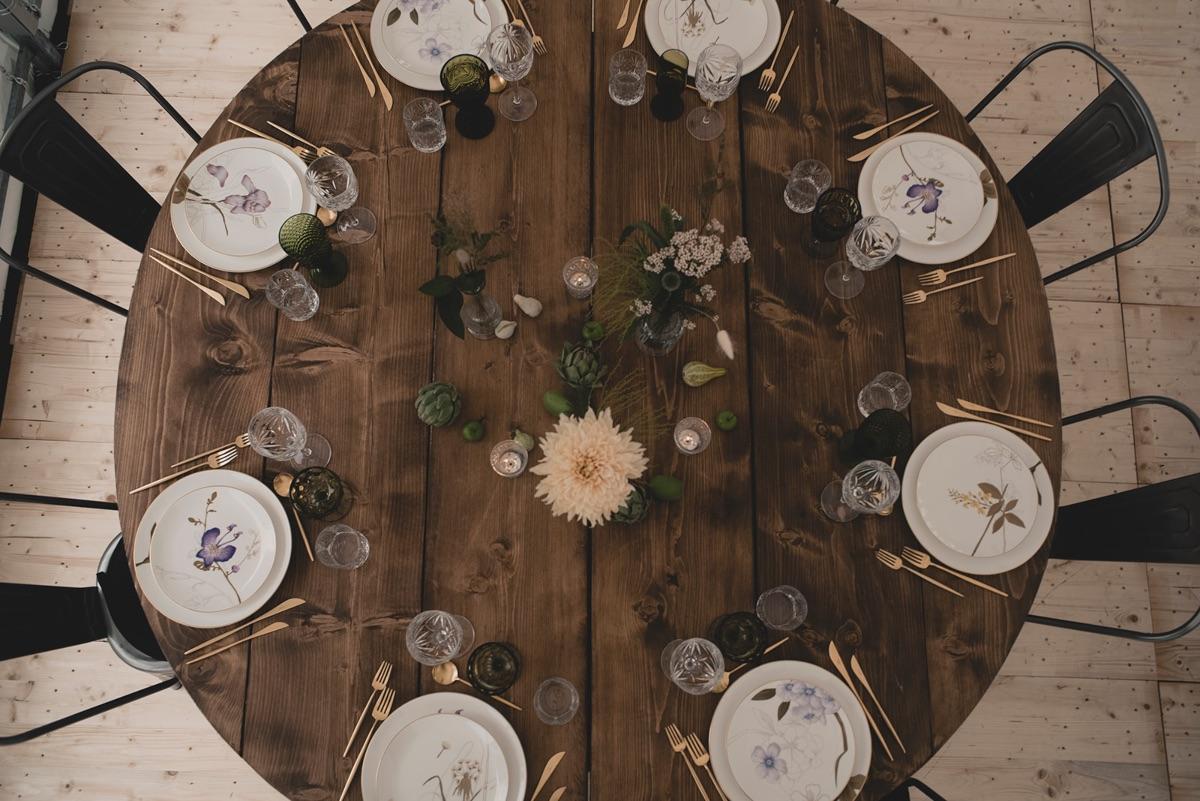 Rustik borddækning bryllup