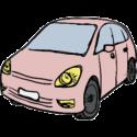 Lyserød bil ved gratis parkering