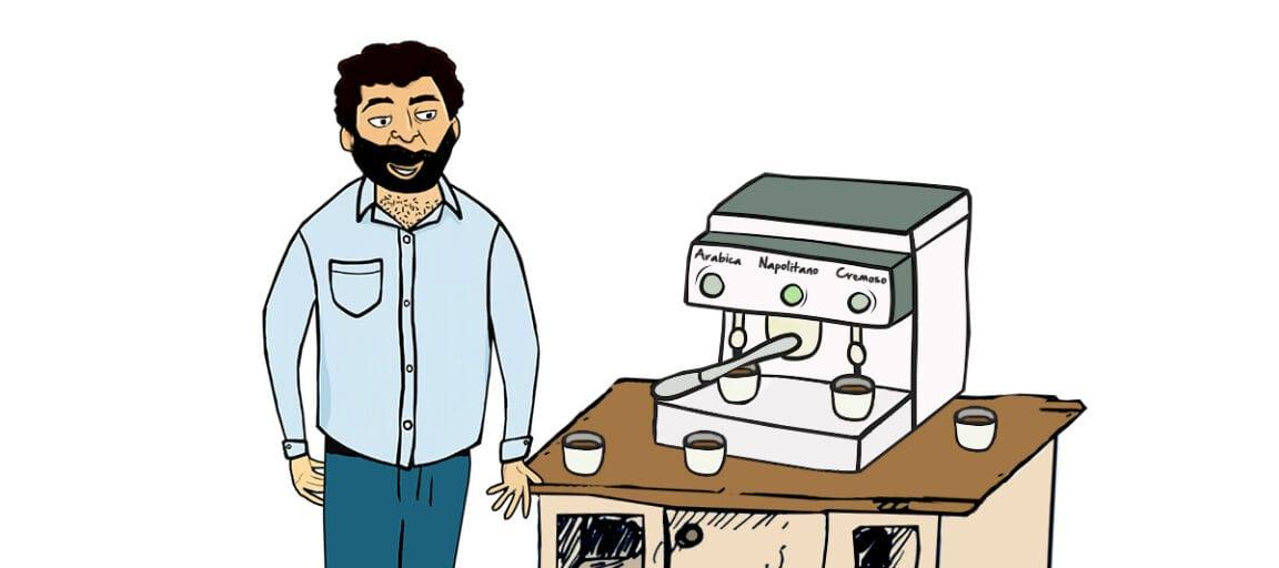 Victor henter kaffe i frokostpausen