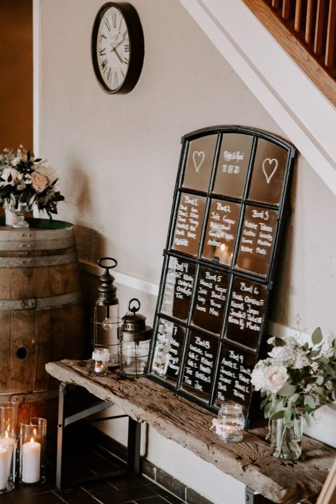 Pynt og bordplan til bryllup