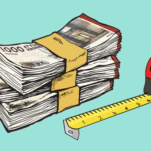 Return on investment pengesedler og målebånd