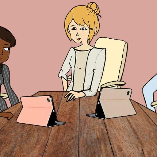 Følgegruppemøde med Tine, Victor, Mary og to tablets