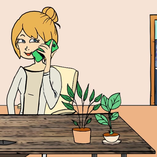 Niels lytter nysgerrigt med i Tines telefonsamtale